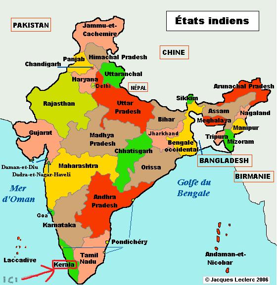 carte états indiens